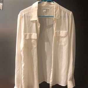 Banana republic silk cream blouse size 14